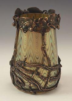 Loetz Art Nouveau Irridescent Glass Vase with Bronze Mount