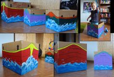 Boat Boxes! I made these for the kids today. So easy - just need some paint, a couple of brushes, and some markers. Took me an hour to make all three from start to finish.