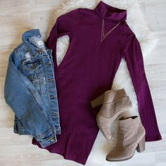- Details - Size Guide - Model Stats - Contact Venture out to our neck of the woods! This burgundy Dana Turtleneck Sweater Dress features a lightweight, ribbed-knit fabric with stretch. Turtleneck top