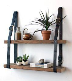 Gorgeous DIY leather belt & wood shelves from Design Sponge. Diy Hanging Shelves, Pallet Shelves, Wood Shelves, Diy Shelving, Unique Shelves, Floating Shelves, Hanging Bookshelves, Rustic Shelving, Easy Shelves