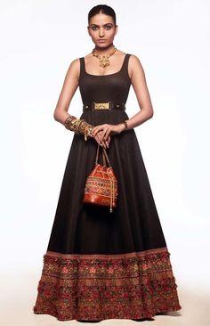 Buy Online Designer Women's Fashion and Bridal Clothing Sabyasachi Lehenga Bridal, Lehenga Gown, Bollywood Saree, Bollywood Fashion, Anarkali, Black Floor Length Dress, Floor Length Dresses, Beautiful Pakistani Dresses, Indian Dresses