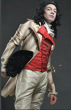 """Chenilles et Papillons Gentleman's Outfit c.1790. Chenilles et Papillons is mainly an art project, but """"everything is for sale, so it is most like a virtual book showing things we have done and the kind of costumes we are able to realize for our customers."""" Dragos Moldoveanu for Chenilles et Papillons quoted in http://www.chicagoreader.com/Bleader/archives/2009/10/21/more-on-18th-century-fashion-in-the-21st-century"""