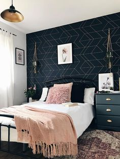 (AD) I'm so pleased to show you the spare room revamp that I've been working on in collaboration with I've done it all myself, so I hope you Blue Wallpaper Bedroom, Bedroom Interior, Grey And Gold Bedroom, Master Bedrooms Decor, Blue And Gold Bedroom, Navy Bedroom Decor, Gold Bedroom, Room Ideas Bedroom, Master Bedroom Colors
