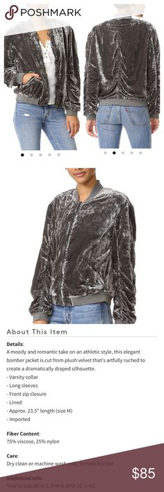 Free People Ruched Velvet Bomber NWT. Size Xsmall. Almost dark grey color. Perfect condition. Free People Jackets & Coats