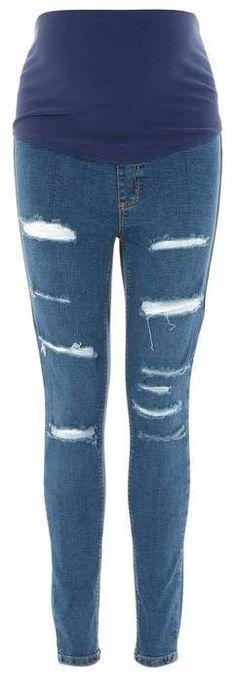 bb93148b506b9 Topshop **Maternity Super Rip Over The Bump Joni Jeans Topshop Maternity, Maternity  Jeans