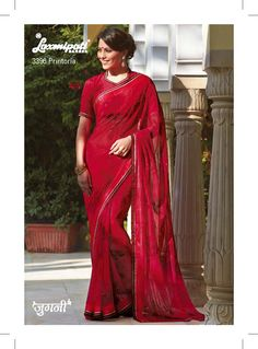 This Indian red saree features a simple and classy design. pogo-diamond work adds grace and glamour to this ethnic attire.