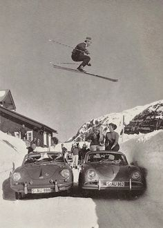 Jumping over Porsches -cool!