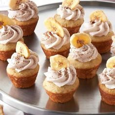 These cute bite-sized cupcakes are perfect for entertaining. Filled with mocha and topped with a banana makes them a sweet and tasty dessert for any occasion.