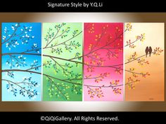 Abstract Love Birds Painting Gift Ideas Palette by QiQiGallery