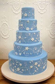 Dort marcipánový * svatební - modrý s bílými kvítky ♥