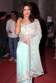 Priyanka Chopra in a lovely chiffon saree at the movies.