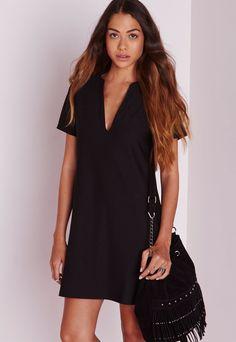 43684fa022 Deep V Plunge Shift Dress Black V Neck Cocktail Dress