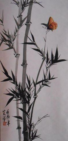 Papillon et volubilis - 250€                                                                                                                                                                                 Plus Japanese Painting, Chinese Painting, Chinese Art, Chinese Brush, Japanese Drawings, Japanese Prints, Japanese Art, Korean Art, Asian Art