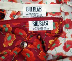 Bill Blass - Ensemble Pantalon et Tunique d'Intérieur (Pyjama) - Soie Motifs Coquelicots - Années 70