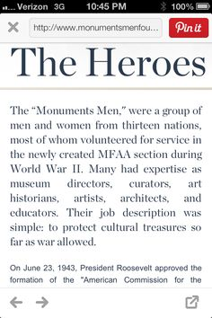The movie, The Monuments Men!