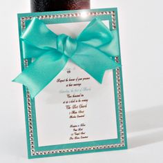 Tiffany Blue  Wedding Invitation with Crystal Embellishments. $20.00, via Etsy.