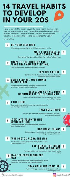 14 travel habits to develop in your 20s!  Learn how to travel like a local, make friends and always make the most of your trips! Save travels!