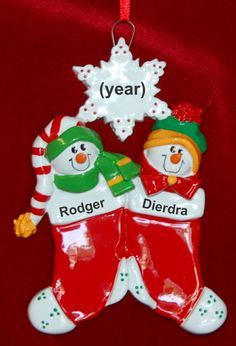 Personalized Siblings Christmas Ornament Festive Stockings 2 | RussellRhodes.com Family Ornament, Baby Ornaments, Personalized Christmas Ornaments, Sticker Removal, Perfect Christmas Gifts, Easy Gifts, Gift Packaging, Siblings, Festive