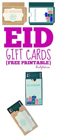 ACraftyArab Eid Gift Cards – Guest Post {Printable} Day 26 of our Ramadan craft challenge has me guest hosting over at Muslimah Bloggers. Stop by and check out the Eid Gift Cards I created for them. Stop by A Crafty Arab on Pinerest to see more free printables. Save Related