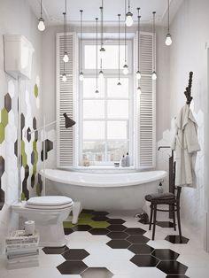 Méchant Studio Blog: it's raining lights #lights #lumière #mixandmatch #carrelage #bathroom #salledebains