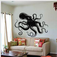 Vinyl Wall Decal Octopus Tentacles Marine Creatures Kraken Stickers Unique Gift (637ig)