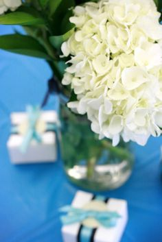 Flowers for bridal shower-Breakfast at Tiffany's