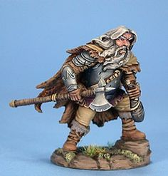 Male Dwarven Fighter with Axe and Wine Skin