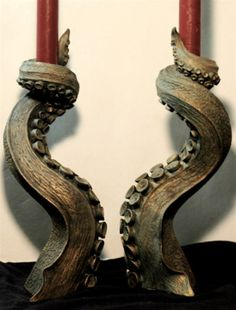 farquharsonandco:    These are exactly the kind of candlesticks I want to use for summoning Unspeakable Horrors from the Great Beyond.  by Dellamorteco on etsy.  ~