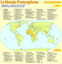 monde-francophone interactive, clic to see where located French Basics, Ap French, Core French, French History, French General, French Language Lessons, French Language Learning, French Lessons, Why Learn French