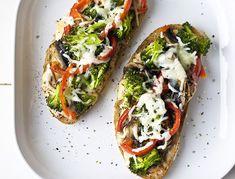 Open-Faced Portobella Mushrooms, Tomatoes, Broccoli, and Melted Mozzarella Sandwiches