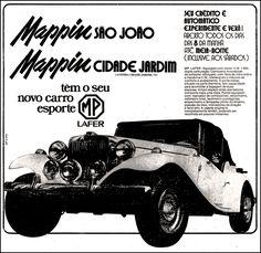 Anúncio carro esporte MP Lafer - Mappin - 1976