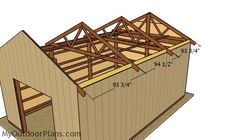 This step by step diy woodworking project is about free pole barn roof plans. This is PART 2 of the pole barn project. In this article I show you my take on building the trusses and how to complete the walls and roofing. Diy Pole Barn, Pole Barn Plans, Pole Barn Garage, Pole Barn Trusses, Woodworking Projects Diy, Woodworking Plans, Garage Blueprints, Roof Trim, Roof Structure