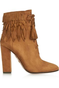Aquazzura|Woodstock fringed suede ankle boots|NET-A-PORTER.COM