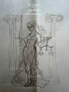 #Justice #WIP by Mary Layton. #SeventyEightTarot #Art #Sketch #Woman #Goddess #Tarot #Collaboration #Unfinished #SneakPeek #Artist #Artwork www.facebook.com/MaryLaytonArt