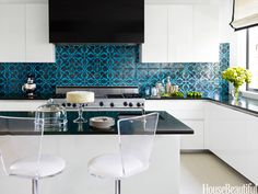 modern white kitchen with Mediterranean teal & black tile back splash #kitchen #blue #teal #tile #mediterranean