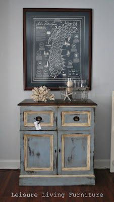 Annie Sloan Chalk Paint™ Louis Blue with Old White highlights and both clear and dark waxes