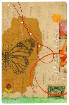 Mixed media (thread, paint, paper, tissue, drawing, sequin) on vintage postcard, 3.5 x 5.5 inches.  A Month of Creating Daily: Day 12  (For Day 11, please visit my blog: oiseaux.typepad.com/oiseaux/2011/06/creating-daily-day-11...