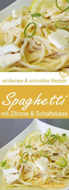 einfaches & schnelles Rezept für Spaghetti mit Schafskäse und Zitrone
