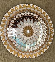 Mandala Ouro em espelho de 50cm