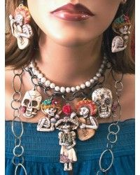 Handmade in the U.S.A.  Day of the Dead necklace and earrings
