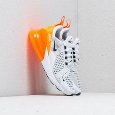 Nike W Air Max 270 Flyknit Clear Emerald/ Black Platform Tennis Shoes, Slip On Tennis Shoes, Tennis Shoes Outfit, Nike Air Max For Women, Nike Women, Orange Nike Shoes, Orange Sneakers, Air Max 270, Cheap Shoes