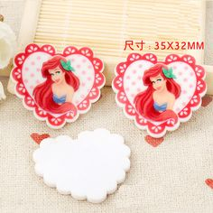 30pc Princess Ariel Heart Flatback Resin Cabochon,Little Mermaid Flat back Planar Resin Cabochon Hair Bow Center/Jewelry DIY