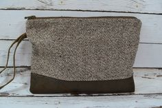 Simple Clutch in Brown Wool & Leather, zipper pouch, Made in the USA, roomy - minimalist Darby Mack made in the USA, rustic  in stock