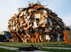 Raum Labor Berlin has completed the Big Crunch, a building made entirely from discarded materials