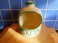 PRESINGOLL POTTERY ceramic salt cellar green cream pattern-kitchenalia