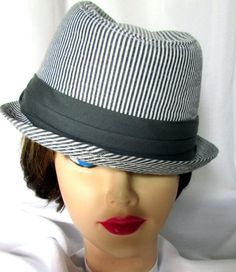 23e5b891779 Ladies Gray Striped Fedora Trilby Brim Hat Women Stylish Fashion Pleated  Band FS Brim Hat