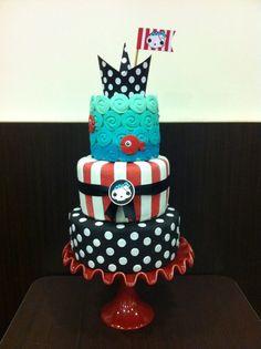 MaryWay Ilustratartas: pirate cake fondant cakes  design Maryway Fondant Man, Fondant Cake Designs, Fondant Cakes, Cupcake Cakes, Cakepops, Lego Cake, Cake Minion, Birthday Party Design, Monster High Cakes