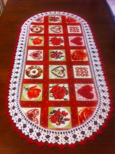 Aunt Roo's Endless Love VICTORIAN Gilded Hearts fabric table runner, $30.00