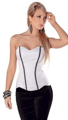 Very trendy our sweetheart grey Corset with chain trim and unique shaped petal hem, has soft boning, side zipper and lace up back from Tesa by Escante.