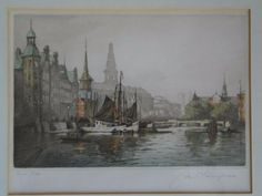 Copenhagen Cityscape By Aage Lundgreen, Artist Signed Etching, 1925.  #art #artwork #copenhagen #etchings